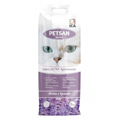 Arena para gatos aglomerante Petsan Lavanda 5kg