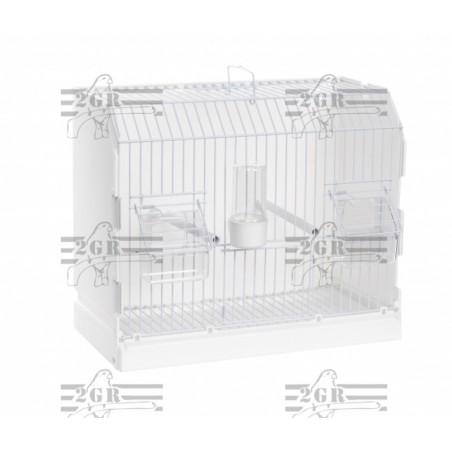 Jaula de exposición 2G-R con 3 puertas y rejilla blanca